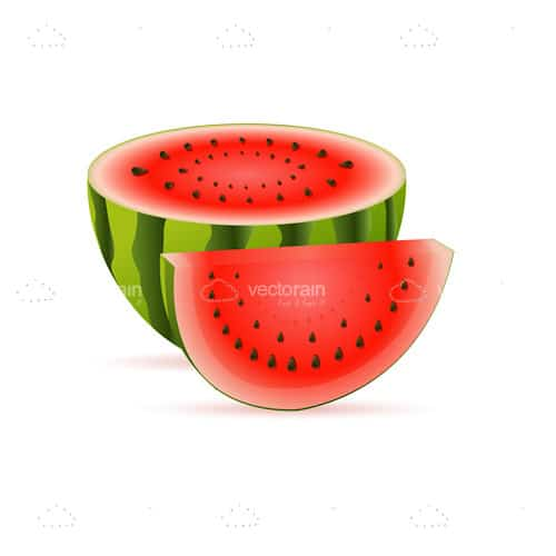 Half Watermelon and Slice