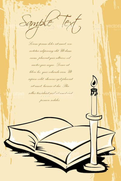 Old Paper Designed Card Background with an Open Book, Candle and Stylised Sample Text