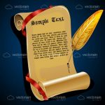 Illustrated Papyrus Roll Sheet with Red Ribbon and Golden Quill