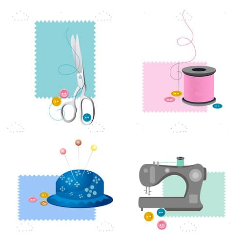 Illustrated Sewing Themed Icons 4 Pack