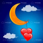 Illustrated Crescent Moon with Hearts Hanging from the Bottom