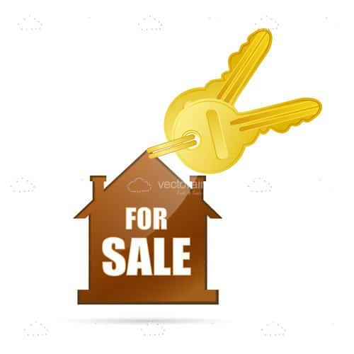 Abstract House Keyring with For Sale Text and Golden Keys