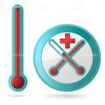 Thermometer and Thermometer Button Design Icon Pack