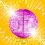 Shiny Pink Disco Ball in Yellow Background with Sound Level Graphic