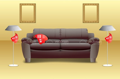 Living Room Furniture with Red Tags