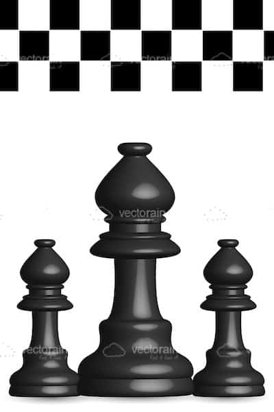 Black Chess Pieces With And White Board Pattern