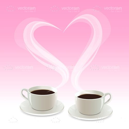 Pair Of Coffee Cups And Heart Shaped Steam Vectorjunky
