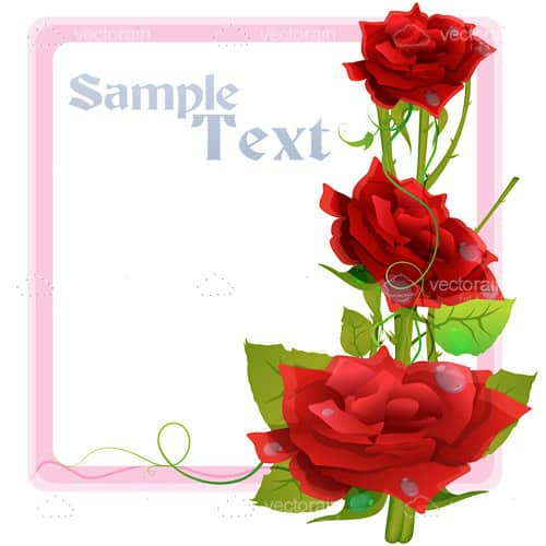 Pink Frame with Red Roses and Sample Text