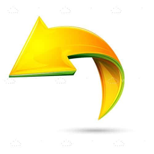Glossy Arrow in 3D Style with Folding Effect