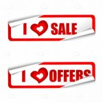 Red and White Sale and Offers Sticker Tags
