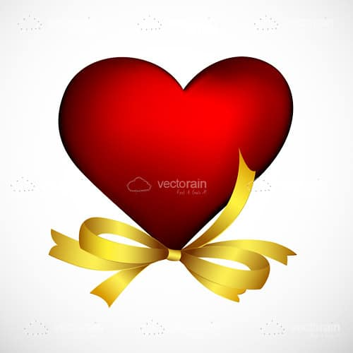 Elegant Red Heart with Golden Ribbon Bow