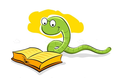Illustrated Cartoon Snake Reading Book