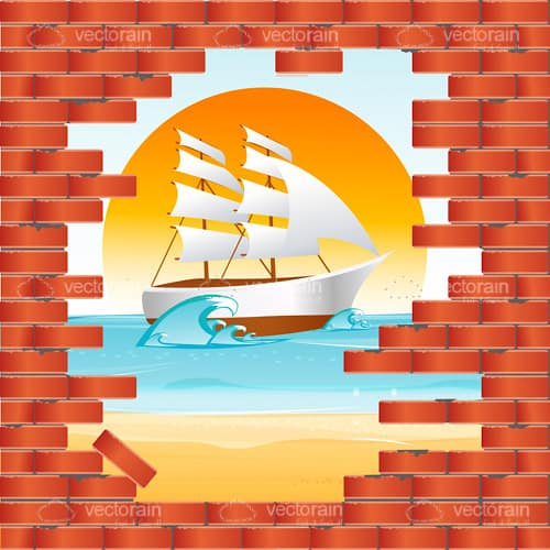 Brick Wall Opening to Sea View with Ship