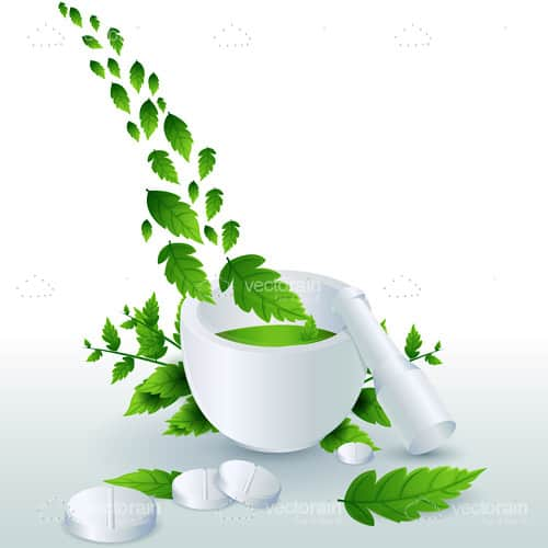 White Mortar with Green Plant and White Pills