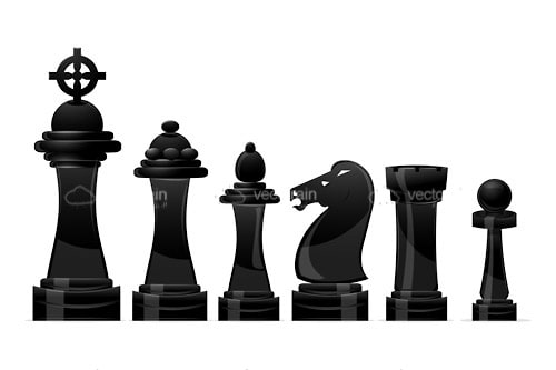 Abstract Black Chess Pieces