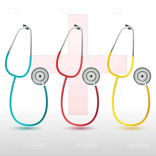 Blue, Red and Yellow Stethoscopes on a White Background with Red Cross