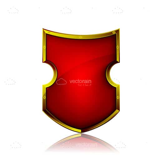 Abstract Antique Shield in Red and Gold