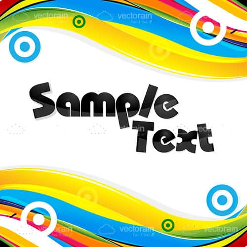 Abstract Colourful Text Frame with Swirls, Circles and Sample Text