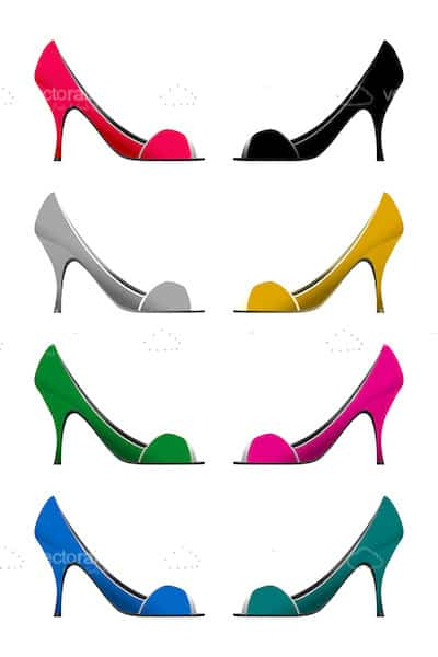 Colourful High Heel Shoes Set