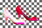 3D High Heel Shoes on Black and White Squared Background