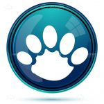 White Animal Paw Print on a Blue Background