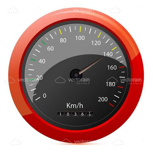 Black Speedometer in KM/H with a Red Border