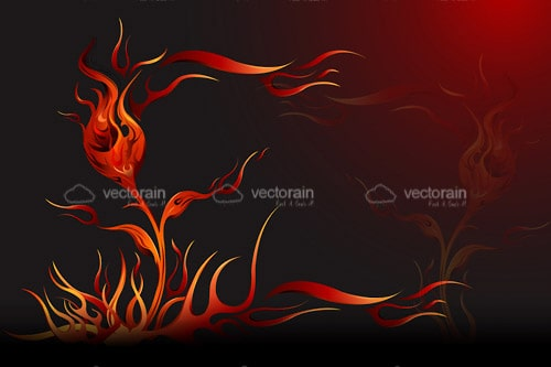 Dark Background with Abstract Flower in Fire Flames