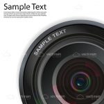 Realistic Camera Lens with Sample Text