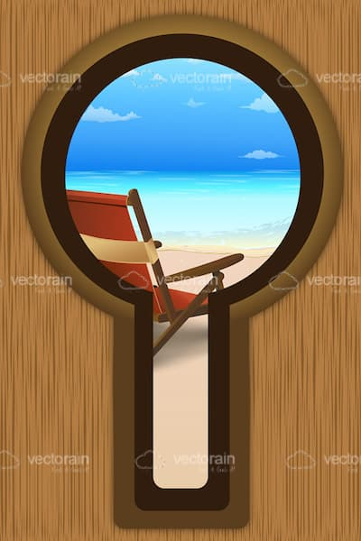 Beach View through Keyhole