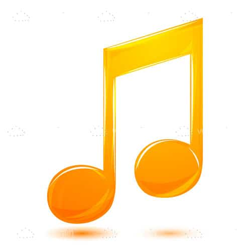 Orange Music Note