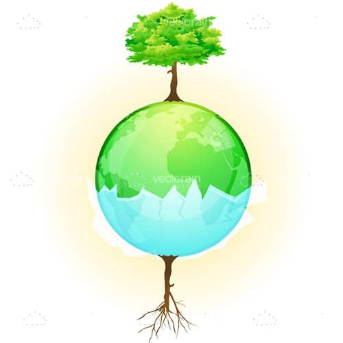 Trees on Blue and Green Globe
