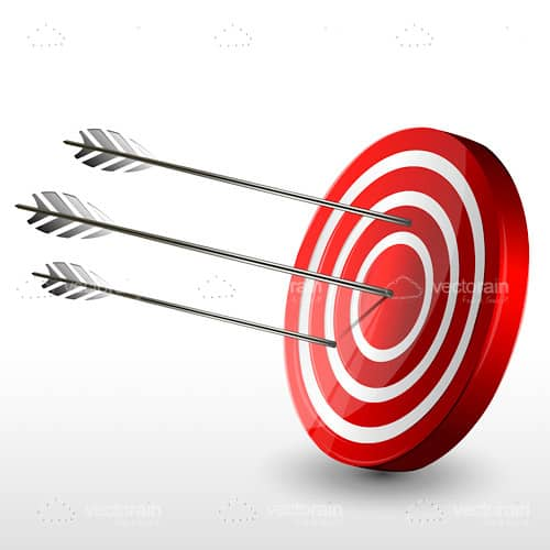Red and White Target Board with Arrows