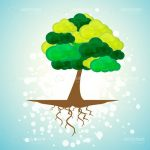 Illustrated Natural Tree on Bokeh Background