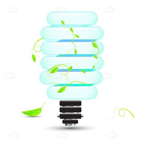 CFL Lightbulb with Green Climbing Plant
