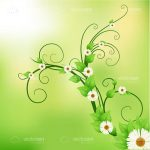 Green Background with Floral Elements