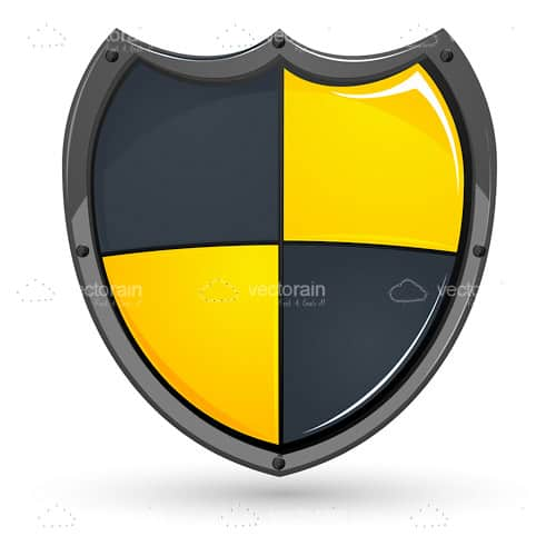 Medieval Style Shield in Yellow and Grey