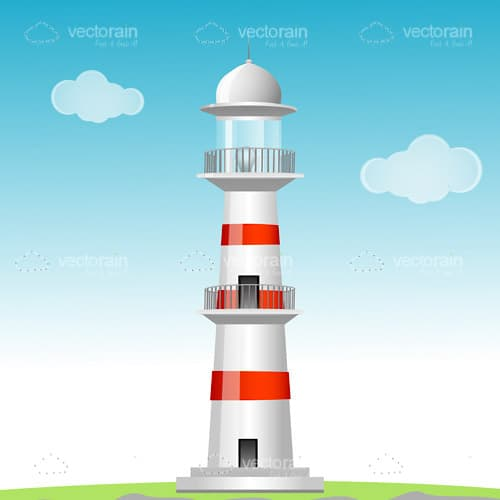 Illustrated Lighthouse on Field Landscape