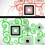 Abstract Red and Green Floral Background