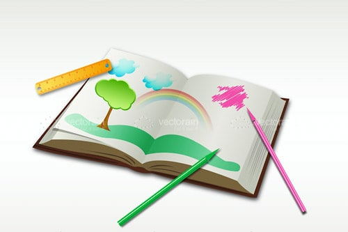 Drawing Book with Park and Rainbow Image