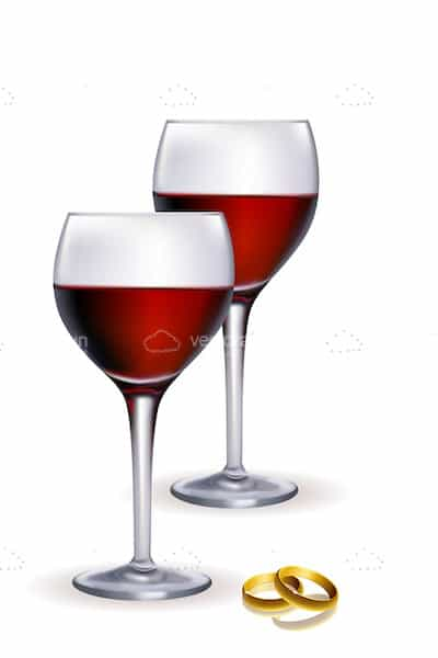Red Wine Glasses with Wedding Rings