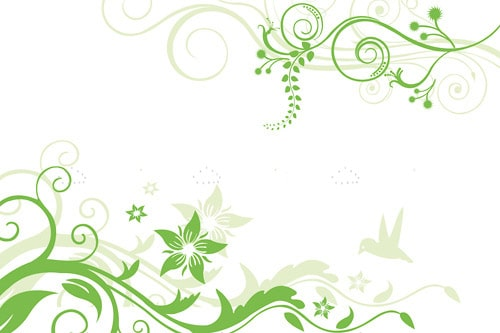 Floral Background in White and Green