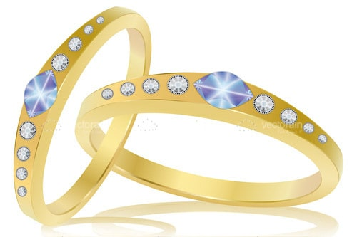 Pair of Gold Rings with Shiny Stones